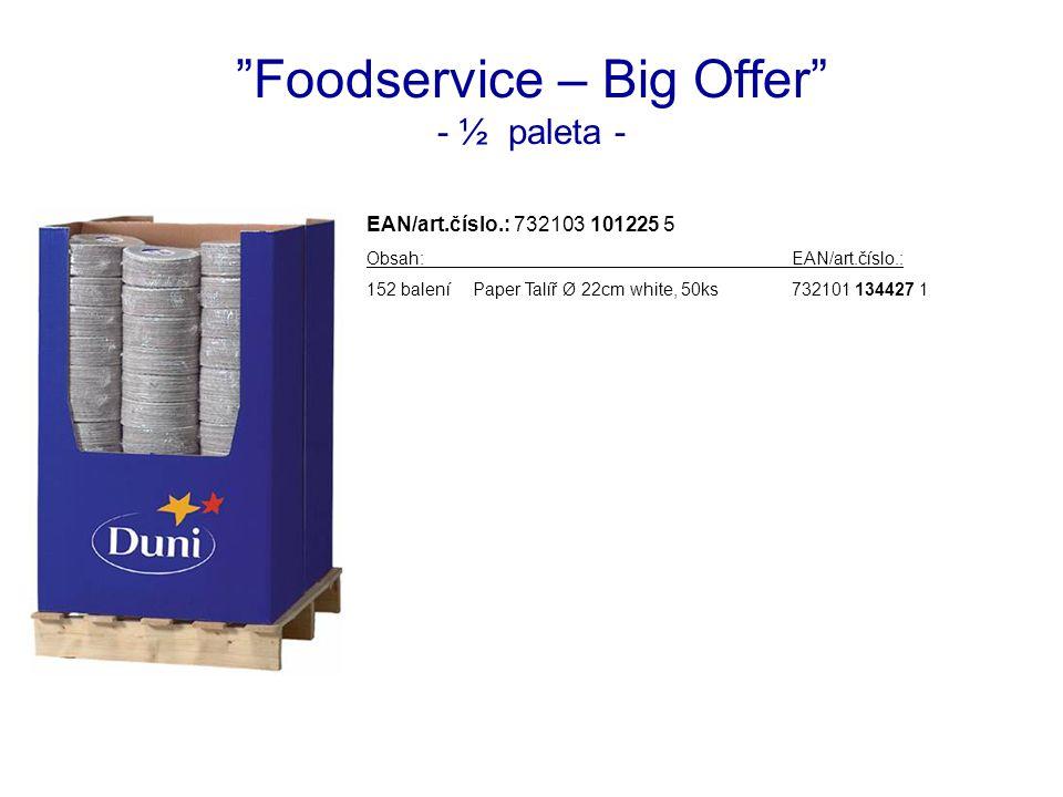 Foodservice – Big Offer - ½ paleta - EAN/art.číslo.: 732103 101225 5 Obsah:EAN/art.číslo.: 152 baleníPaper Talíř Ø 22cm white, 50ks732101 134427 1