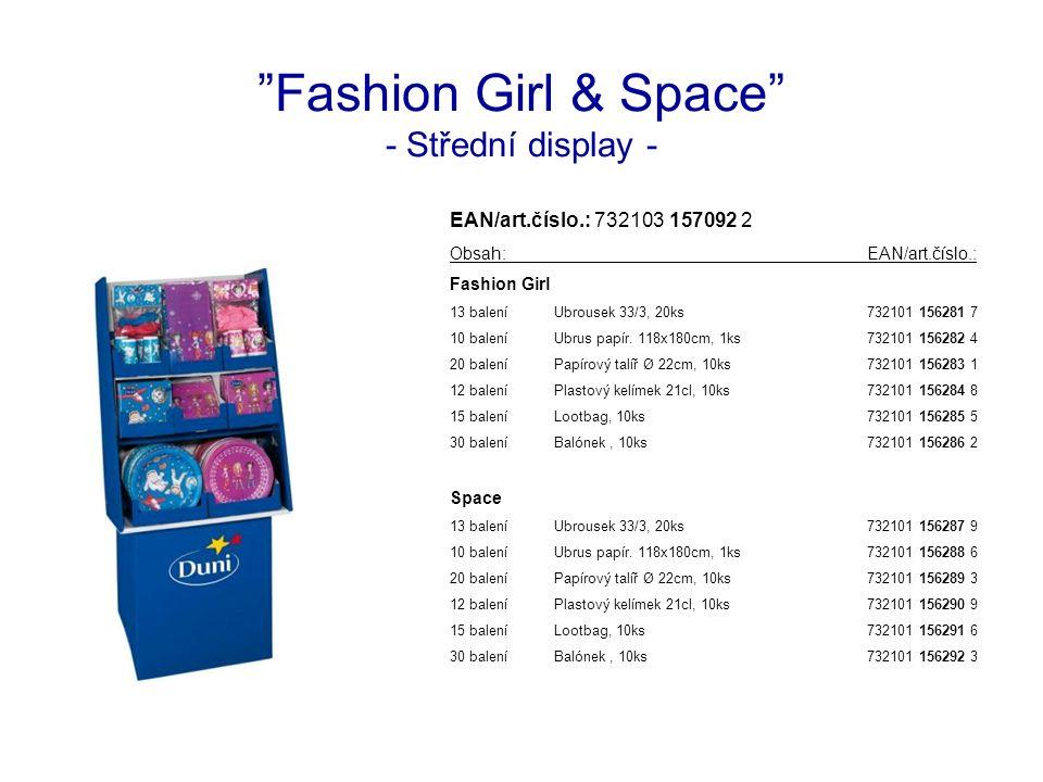 Fashion Girl & Space - Střední display - EAN/art.číslo.: 732103 157092 2 Obsah:EAN/art.číslo.: Fashion Girl 13 baleníUbrousek 33/3, 20ks732101 156281 7 10 baleníUbrus papír.