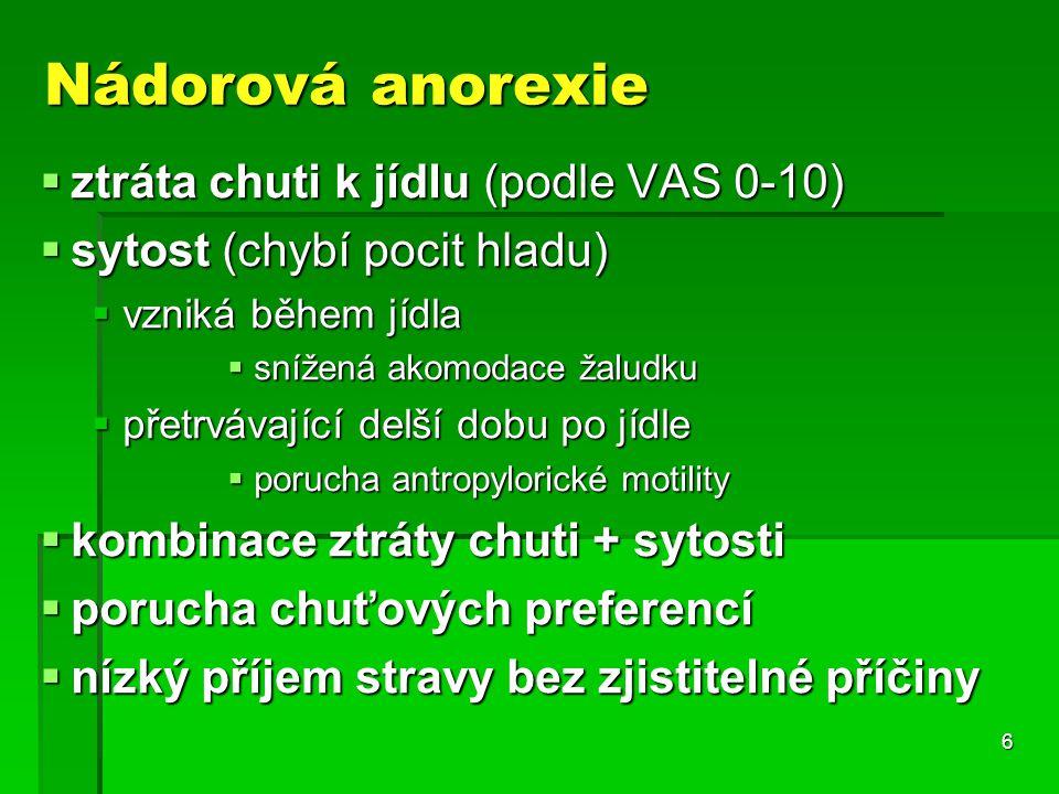 6 Nádorová anorexie  ztráta chuti k jídlu (podle VAS 0-10)  sytost (chybí pocit hladu)  vzniká během jídla  snížená akomodace žaludku  přetrvávající delší dobu po jídle  porucha antropylorické motility  kombinace ztráty chuti + sytosti  porucha chuťových preferencí  nízký příjem stravy bez zjistitelné příčiny