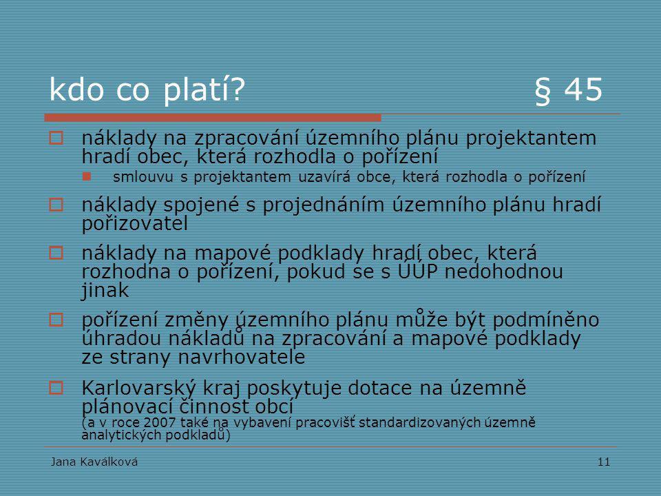 Jana Kaválková11 kdo co platí? § 45  náklady na zpracování územního plánu projektantem hradí obec, která rozhodla o pořízení smlouvu s projektantem u