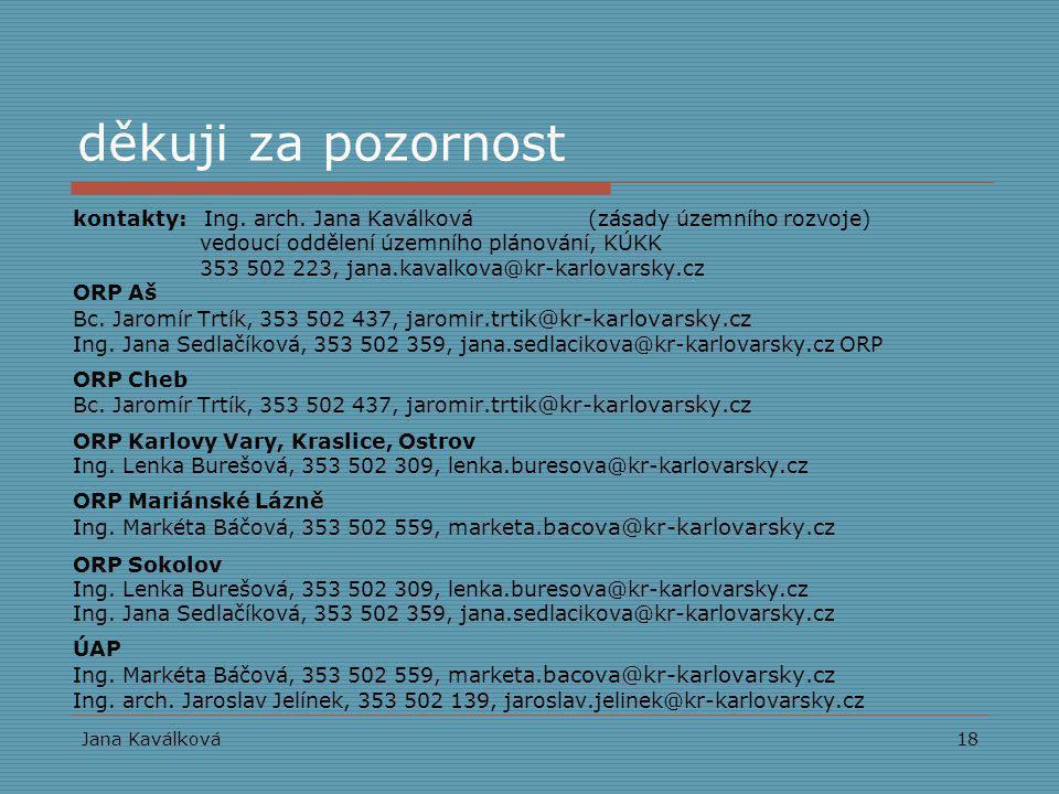 Jana Kaválková18 děkuji za pozornost kontakty: Ing. arch. Jana Kaválková (zásady územního rozvoje) vedoucí oddělení územního plánování, KÚKK 353 502 2