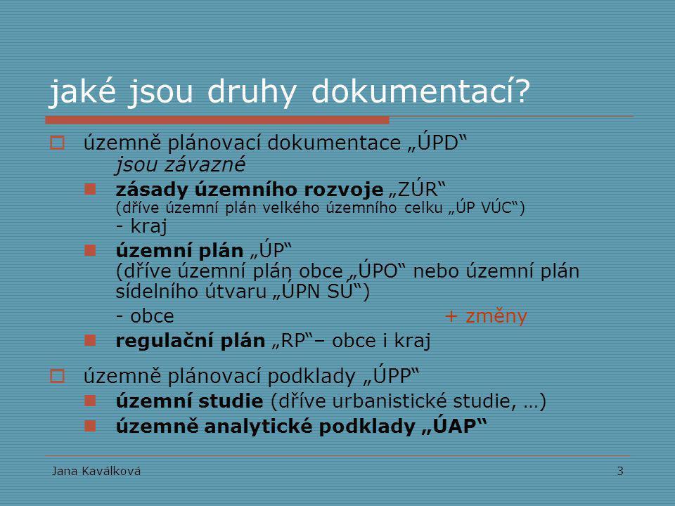 """Jana Kaválková3 jaké jsou druhy dokumentací?  územně plánovací dokumentace """"ÚPD"""" jsou závazné zásady územního rozvoje """"ZÚR"""" (dříve územní plán velkéh"""