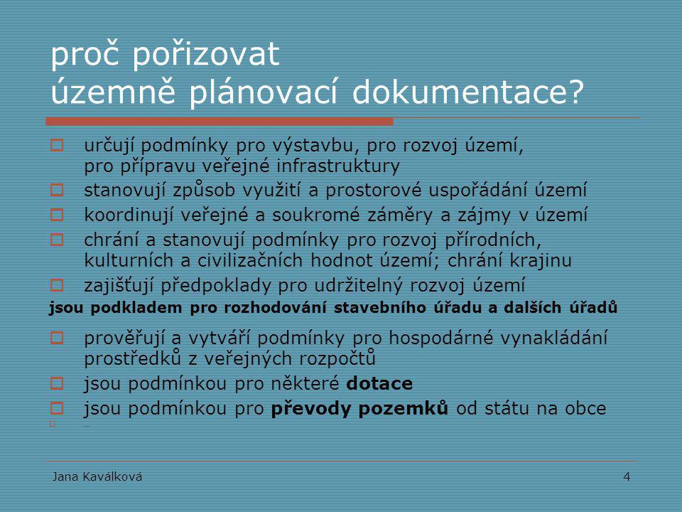 Jana Kaválková4 proč pořizovat územně plánovací dokumentace?  určují podmínky pro výstavbu, pro rozvoj území, pro přípravu veřejné infrastruktury  s