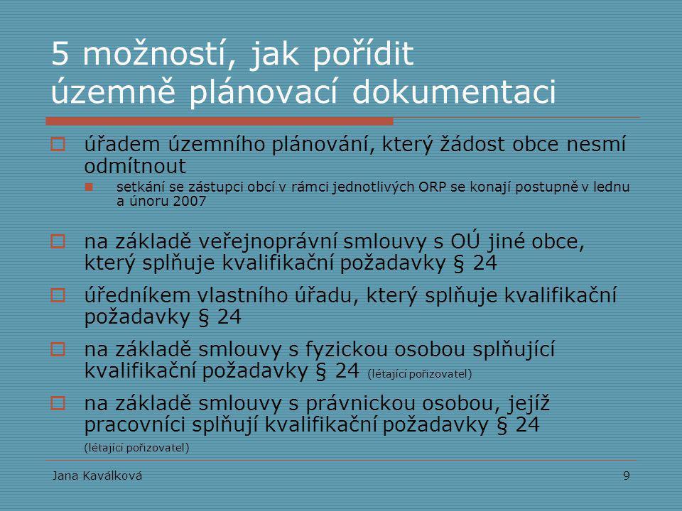 Jana Kaválková9 5 možností, jak pořídit územně plánovací dokumentaci  úřadem územního plánování, který žádost obce nesmí odmítnout setkání se zástupc