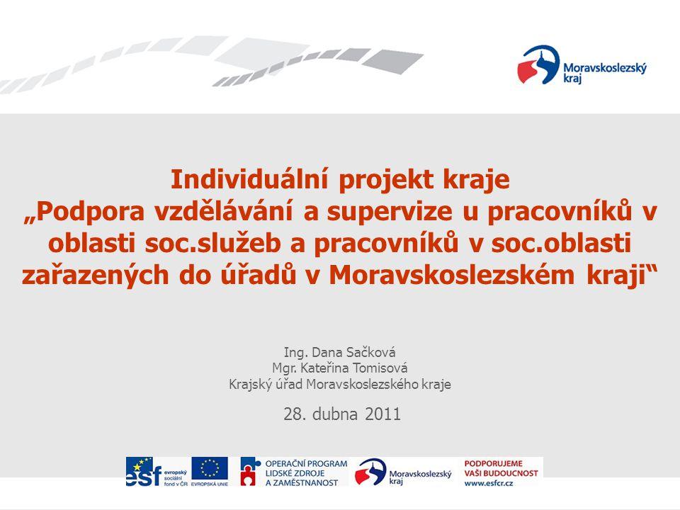 """Individuální projekt kraje """"Podpora vzdělávání a supervize u pracovníků v oblasti soc.služeb a pracovníků v soc.oblasti zařazených do úřadů v Moravskoslezském kraji Ing."""