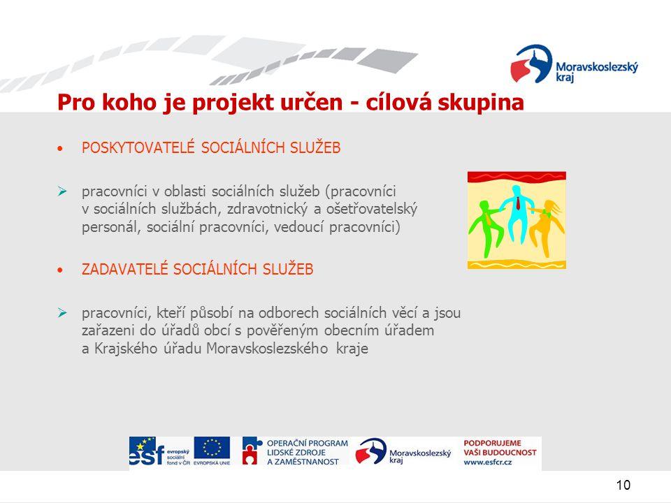 10 Pro koho je projekt určen - cílová skupina POSKYTOVATELÉ SOCIÁLNÍCH SLUŽEB  pracovníci v oblasti sociálních služeb (pracovníci v sociálních službách, zdravotnický a ošetřovatelský personál, sociální pracovníci, vedoucí pracovníci) ZADAVATELÉ SOCIÁLNÍCH SLUŽEB  pracovníci, kteří působí na odborech sociálních věcí a jsou zařazeni do úřadů obcí s pověřeným obecním úřadem a Krajského úřadu Moravskoslezského kraje