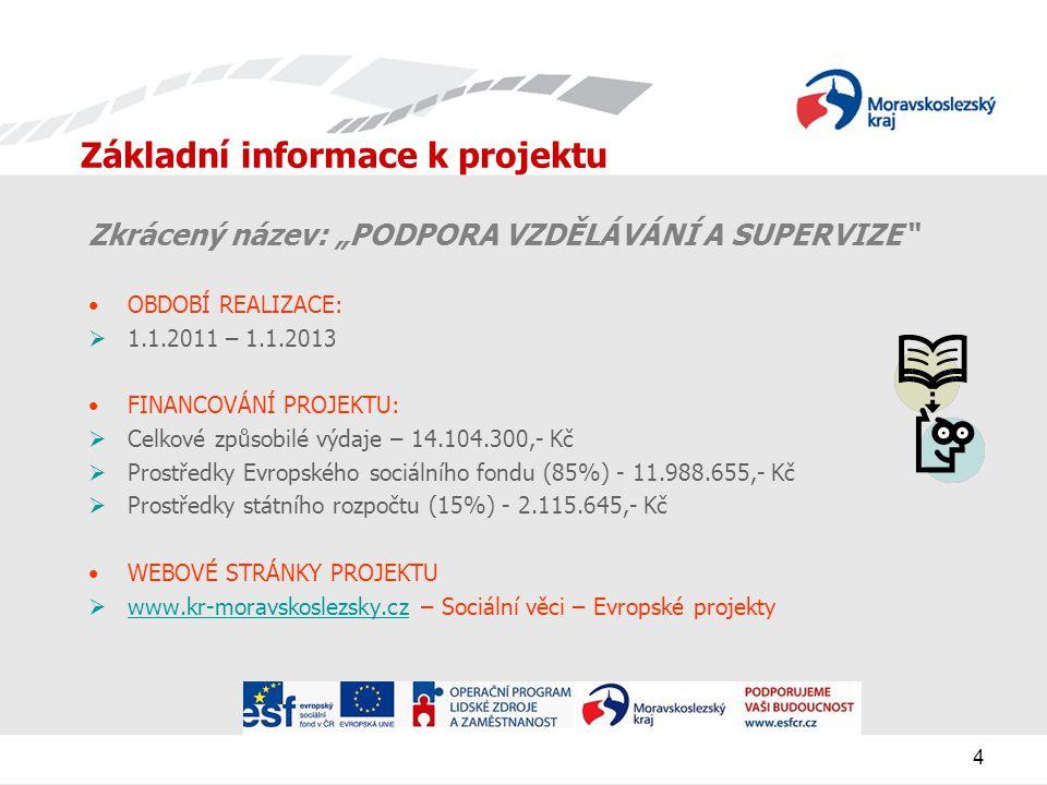 """4 Základní informace k projektu Zkrácený název: """"PODPORA VZDĚLÁVÁNÍ A SUPERVIZE OBDOBÍ REALIZACE:  1.1.2011 – 1.1.2013 FINANCOVÁNÍ PROJEKTU:  Celkové způsobilé výdaje – 14.104.300,- Kč  Prostředky Evropského sociálního fondu (85%) - 11.988.655,- Kč  Prostředky státního rozpočtu (15%) - 2.115.645,- Kč WEBOVÉ STRÁNKY PROJEKTU  www.kr-moravskoslezsky.cz – Sociální věci – Evropské projekty www.kr-moravskoslezsky.cz"""