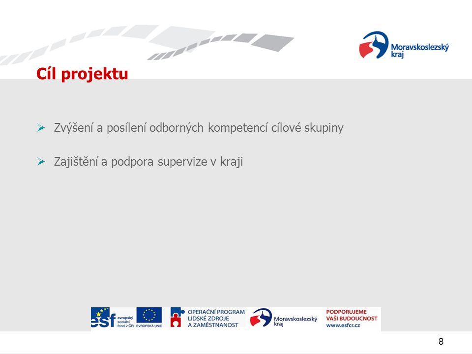8 Cíl projektu  Zvýšení a posílení odborných kompetencí cílové skupiny  Zajištění a podpora supervize v kraji