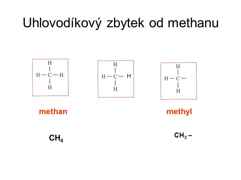 Uhlovodíkový zbytek od methanu methanmethyl CH 4 CH 3 – H
