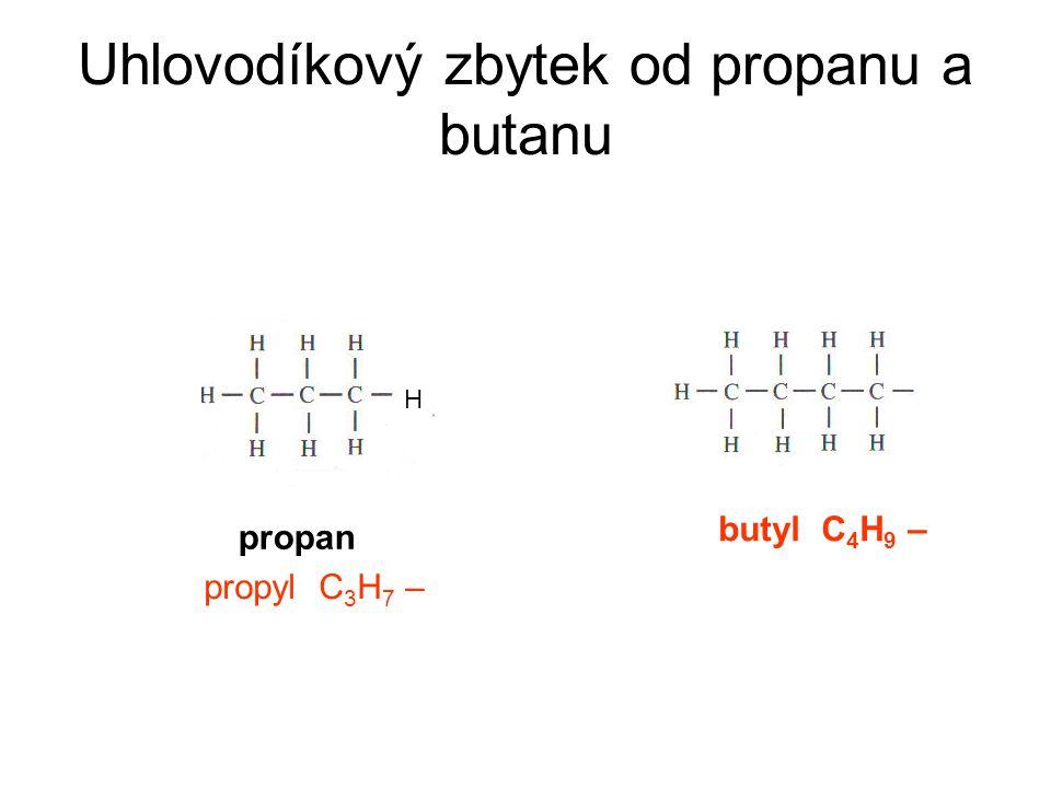 Uhlovodíkový zbytek - je část molekuly uhlovodíku bez atomu vodíku -koncovka -yl -označuje se R- (radikál) -od methanu – methyl CH 3 - -od ethanu – ethyl CH 3 – CH 2 – -od propanu – propyl CH 3 – CH 2 – CH 2 – -od ethylénu – vinyl CH 2 = CH – -od benzenu – benzyl C 6 H 5 –