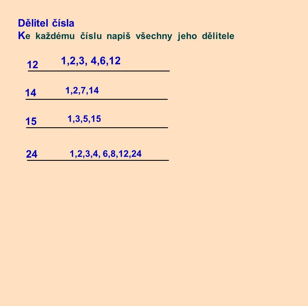 Dělitel čísla K e každému číslu napiš všechny jeho dělitele 12 14 24 15 1,2,7,14 1,3,5,15 1,2,3,4, 6,8,12,24 1,2,3, 4,6,12