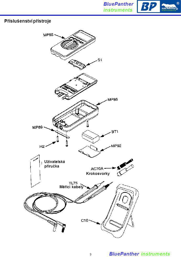 BluePanther instruments 9 Uživatelská příručka Krokosvorky Měřící kabely Příslušenství přístroje