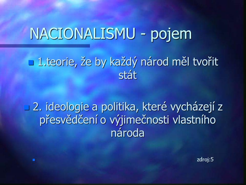 NACIONALISMU - pojem n 1.teorie, že by každý národ měl tvořit stát n 2. ideologie a politika, které vycházejí z přesvědčení o výjimečnosti vlastního n