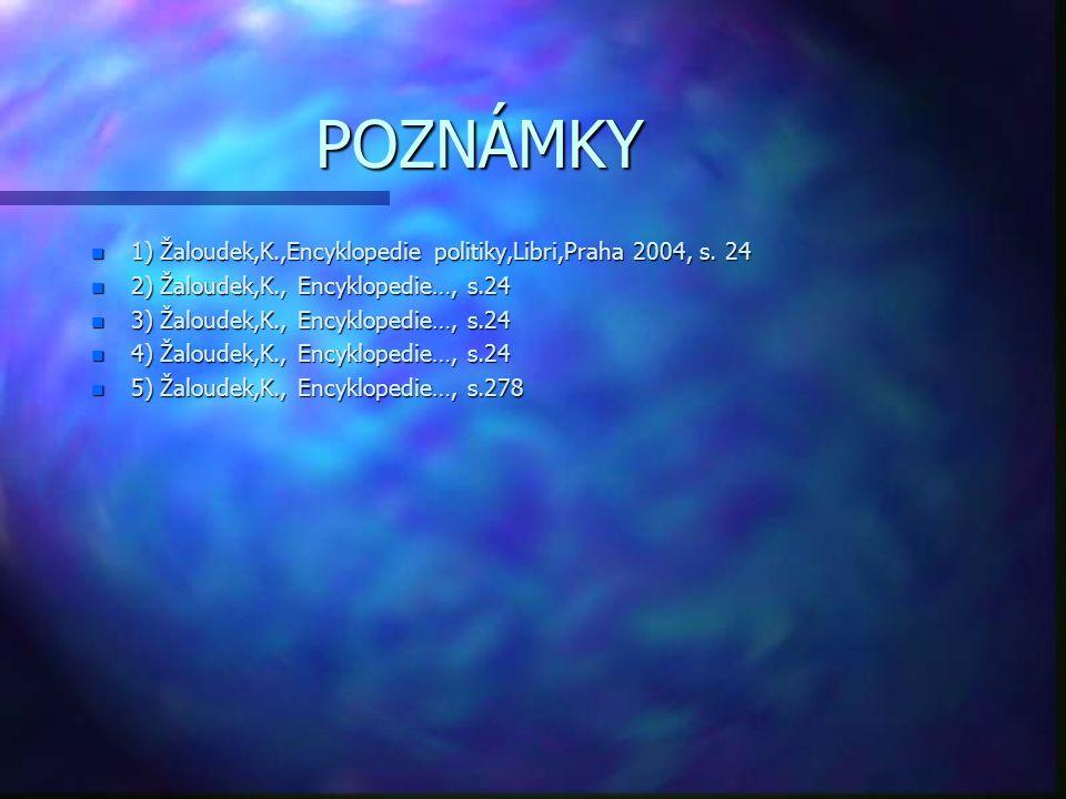 POZNÁMKY n 1) Žaloudek,K.,Encyklopedie politiky,Libri,Praha 2004, s. 24 n 2) Žaloudek,K., Encyklopedie…, s.24 n 3) Žaloudek,K., Encyklopedie…, s.24 n