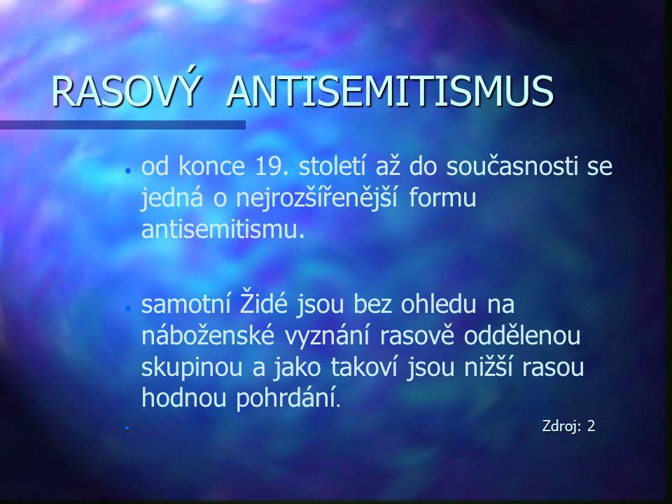 NOVÝ ANTISEMITISMUS n n forma, která se objevila na konci 20.