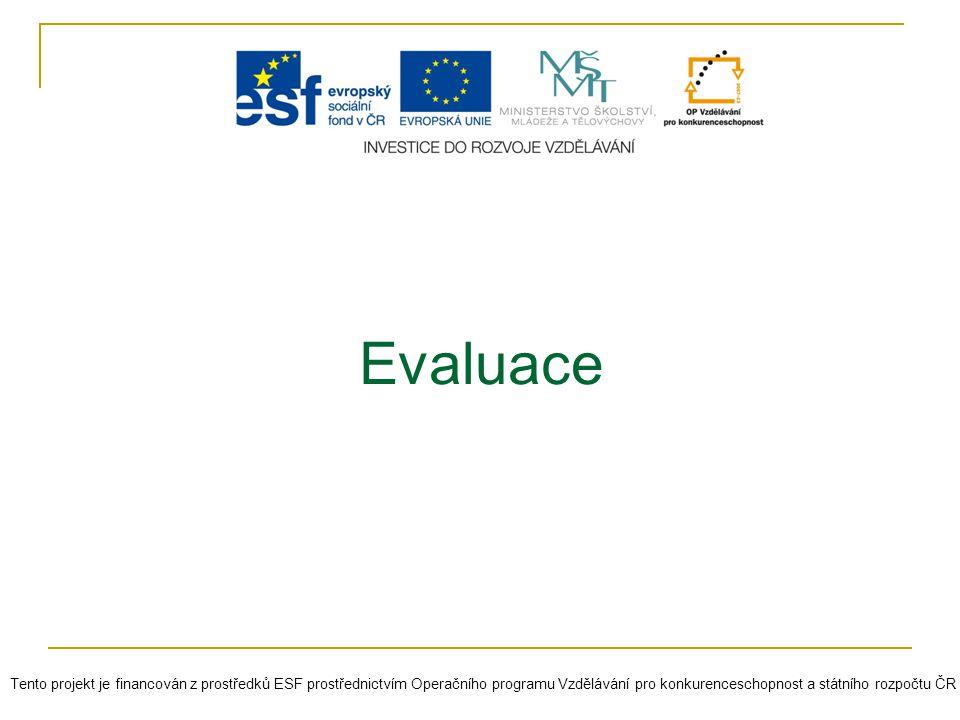 Evaluace Tento projekt je financován z prostředků ESF prostřednictvím Operačního programu Vzdělávání pro konkurenceschopnost a státního rozpočtu ČR