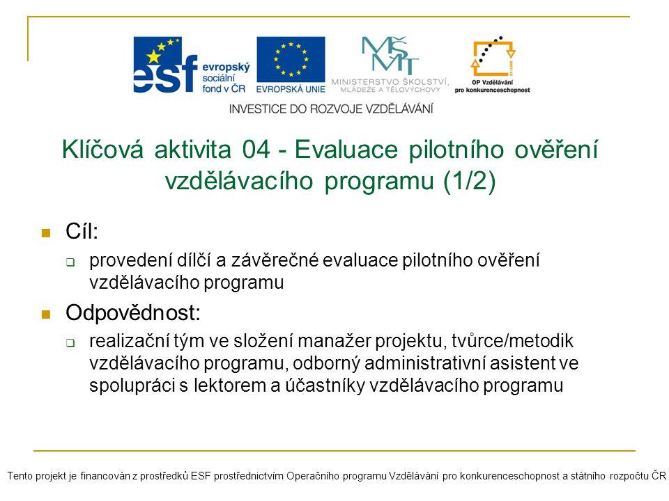 Klíčová aktivita 04 - Evaluace pilotního ověření vzdělávacího programu (1/2) Cíl:  provedení dílčí a závěrečné evaluace pilotního ověření vzdělávacíh