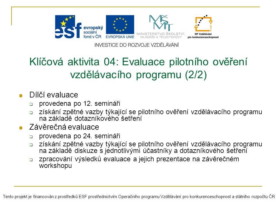 Klíčová aktivita 04: Evaluace pilotního ověření vzdělávacího programu (2/2) Dílčí evaluace  provedena po 12. semináři  získání zpětné vazby týkající