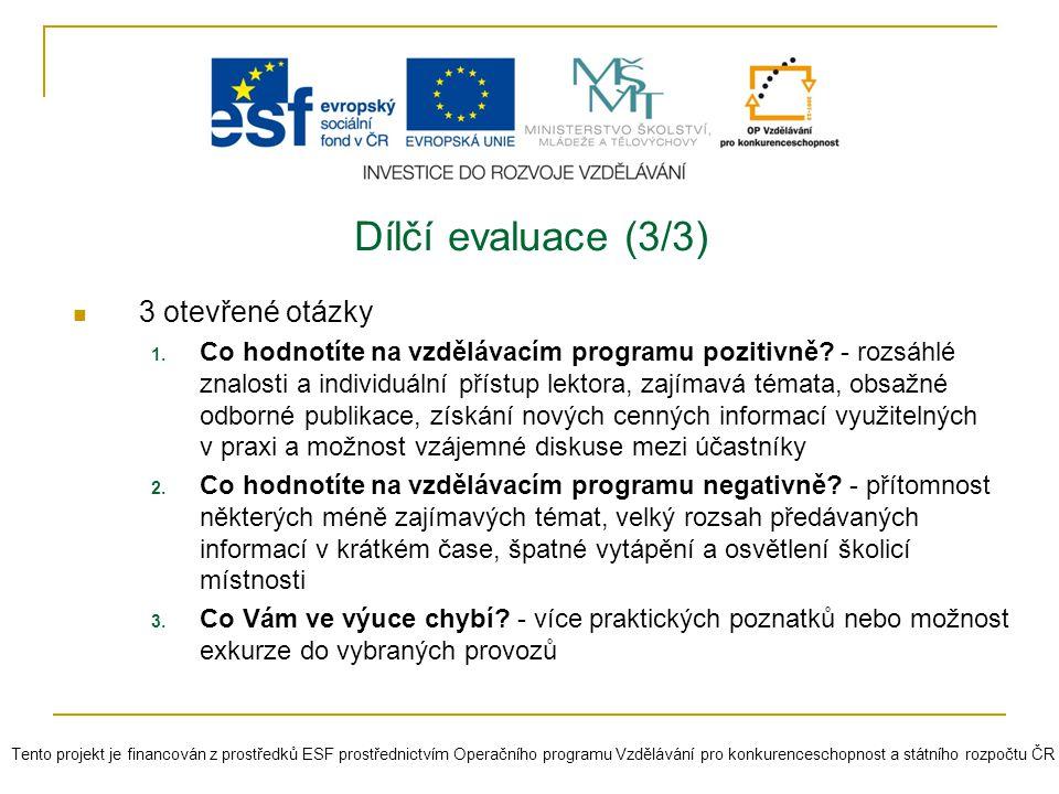Dílčí evaluace (3/3) 3 otevřené otázky 1. Co hodnotíte na vzdělávacím programu pozitivně? - rozsáhlé znalosti a individuální přístup lektora, zajímavá