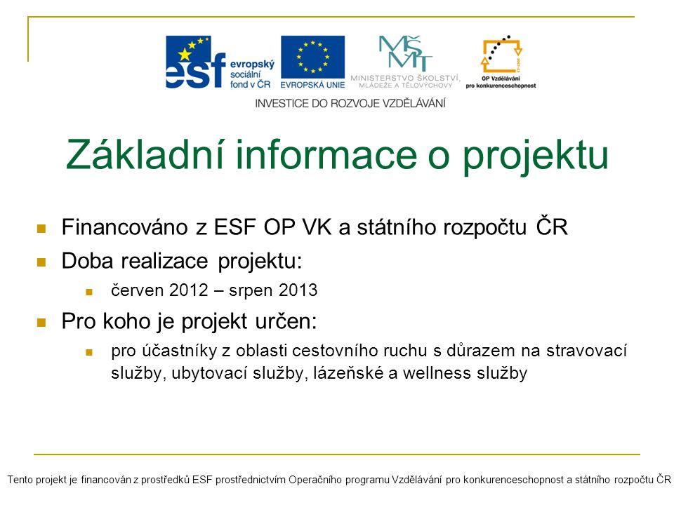 Cíle projektu Podpořit nabídku celoživotního vzdělávání v Plzeňském kraji prostřednictvím vzdělávacího programu zaměřeného na vzdělávání pracovníků v oblasti cestovního ruchu Poskytnutí aktuálních odborných informací z oblasti cestovního ruchu Zvýšení konkurenceschopnosti na trhu práce Možnost diskuze a výměny zkušeností a informací jak s lektory, tak mezi účastníky Tento projekt je financován z prostředků ESF prostřednictvím Operačního programu Vzdělávání pro konkurenceschopnost a státního rozpočtu ČR