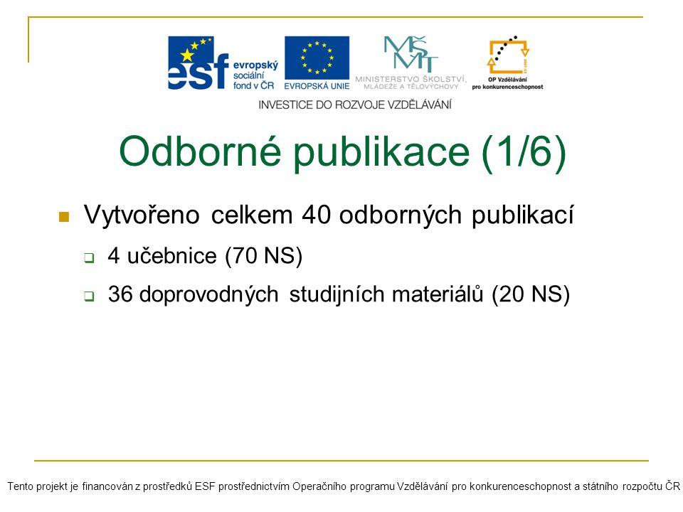 Vytvořeno celkem 40 odborných publikací  4 učebnice (70 NS)  36 doprovodných studijních materiálů (20 NS) Odborné publikace (1/6) Tento projekt je f
