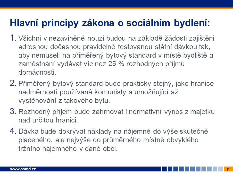 11 www.osmd.cz Hlavní principy zákona o sociálním bydlení: 1. Všichni v nezaviněné nouzi budou na základě žádosti zajištěni adresnou dočasnou pravidel