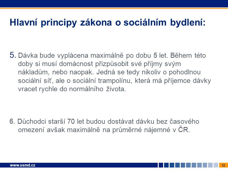 12 www.osmd.cz Hlavní principy zákona o sociálním bydlení: 5. Dávka bude vyplácena maximálně po dobu 5 let. Během této doby si musí domácnost přizpůso