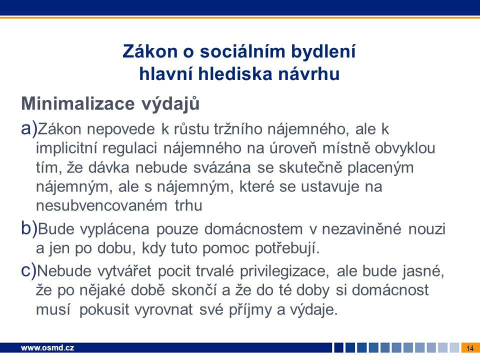 14 www.osmd.cz Zákon o sociálním bydlení hlavní hlediska návrhu Minimalizace výdajů a) Zákon nepovede k růstu tržního nájemného, ale k implicitní regu