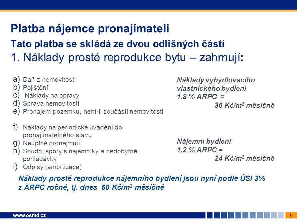 3 www.osmd.cz Platba nájemce pronajímateli Tato platba se skládá ze dvou odlišných částí 1. Náklady prosté reprodukce bytu – zahrnují: a) Daň z nemovi