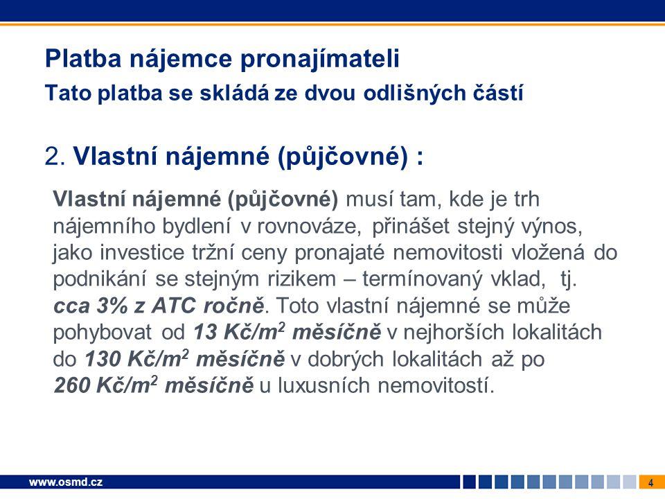 4 www.osmd.cz Platba nájemce pronajímateli Tato platba se skládá ze dvou odlišných částí 2. Vlastní nájemné (půjčovné) : Vlastní nájemné (půjčovné) mu