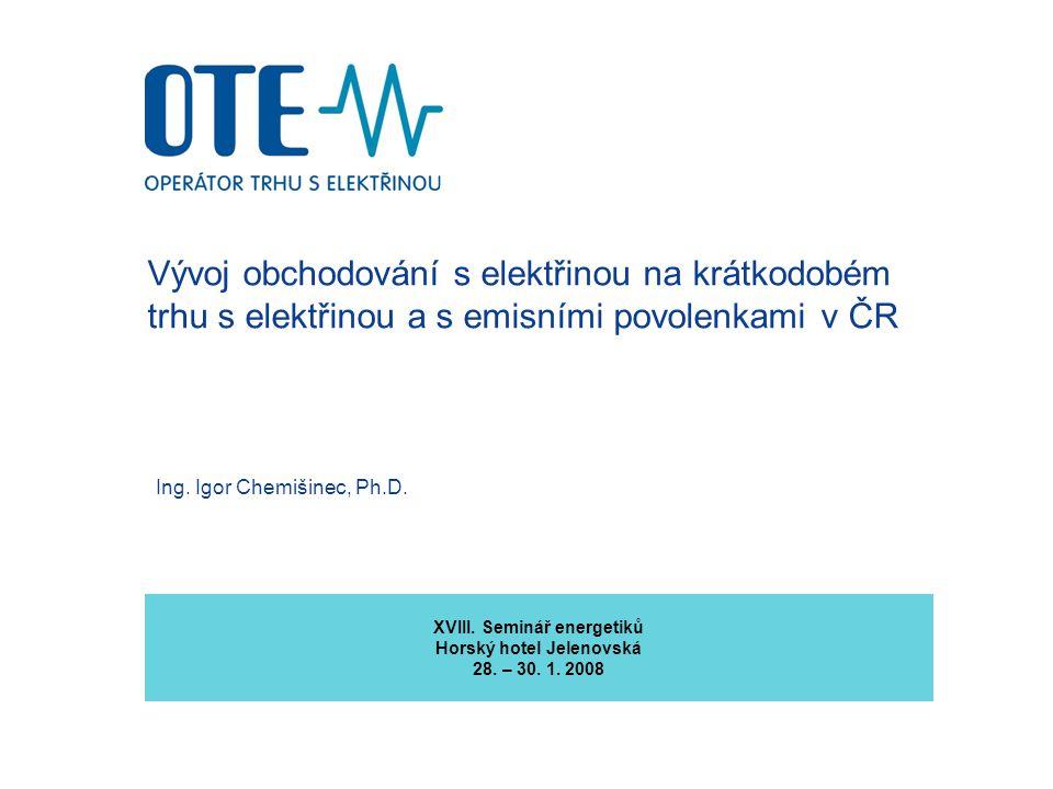 2 Obsah prezentace 1.Trh s elektřinou v ČR z pohledu OTE v roce 2007 2.Blokový trh s elektřinou jako součást organizovaného krátkodobého obchodování s elektřinou 3.Rejstřík povolenek na emise skleníkových plynů 4.Změna dodavatele, Elektronická faktura, Daň z elektřiny