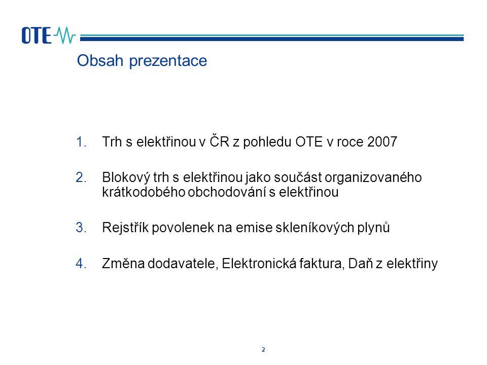 2 Obsah prezentace 1.Trh s elektřinou v ČR z pohledu OTE v roce 2007 2.Blokový trh s elektřinou jako součást organizovaného krátkodobého obchodování s