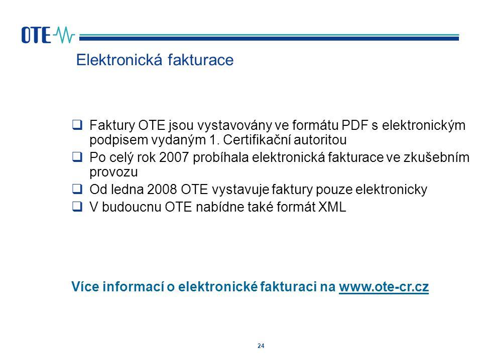 24 Elektronická fakturace  Faktury OTE jsou vystavovány ve formátu PDF s elektronickým podpisem vydaným 1. Certifikační autoritou  Po celý rok 2007