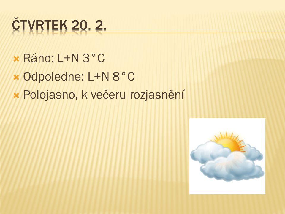  Ráno: L+N 3°C  Odpoledne: L+N 8°C  Polojasno, k večeru rozjasnění