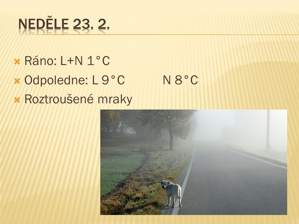  Ráno: L+N 1°C  Odpoledne: L 9°C N 8°C  Roztroušené mraky