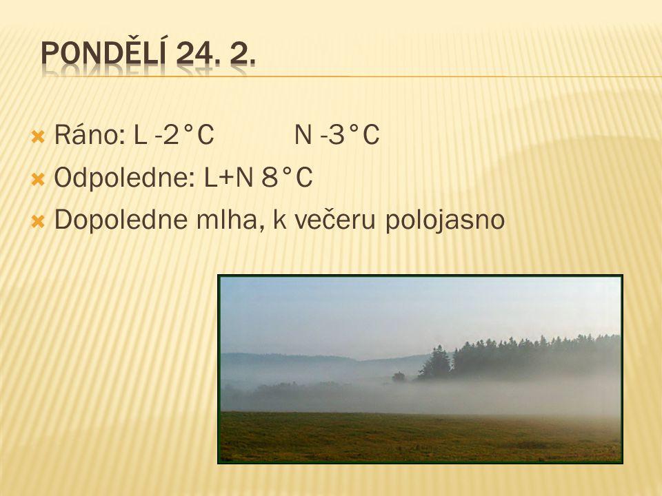  Ráno: L -2°C N -3°C  Odpoledne: L+N 8°C  Dopoledne mlha, k večeru polojasno