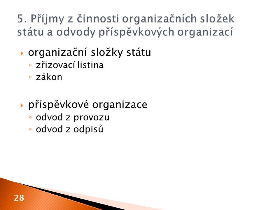  organizační složky státu ◦ zřizovací listina ◦ zákon  příspěvkové organizace ◦ odvod z provozu ◦ odvod z odpisů 28