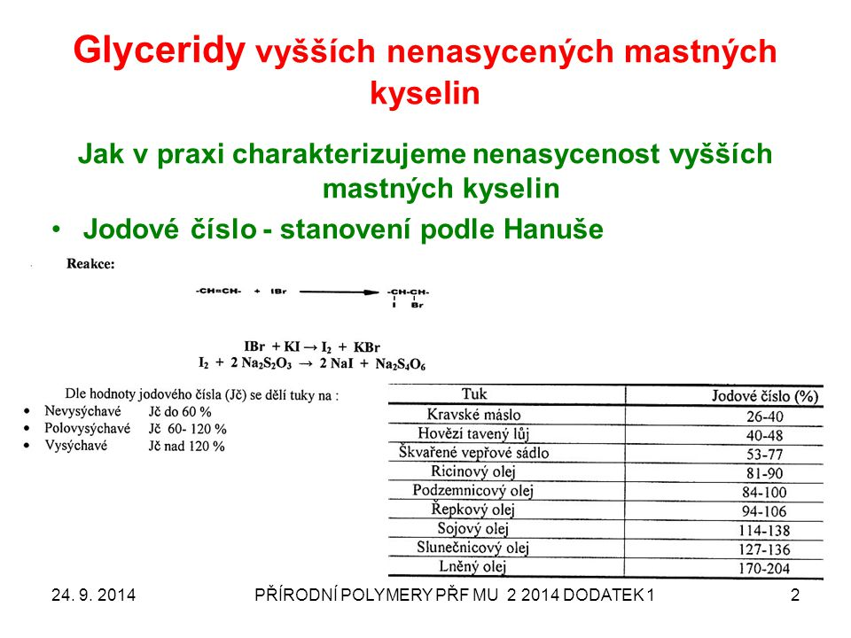 Glyceridy vyšších nenasycených mastných kyselin 24. 9. 2014PŘÍRODNÍ POLYMERY PŘF MU 2 2014 DODATEK 12 Jak v praxi charakterizujeme nenasycenost vyššíc