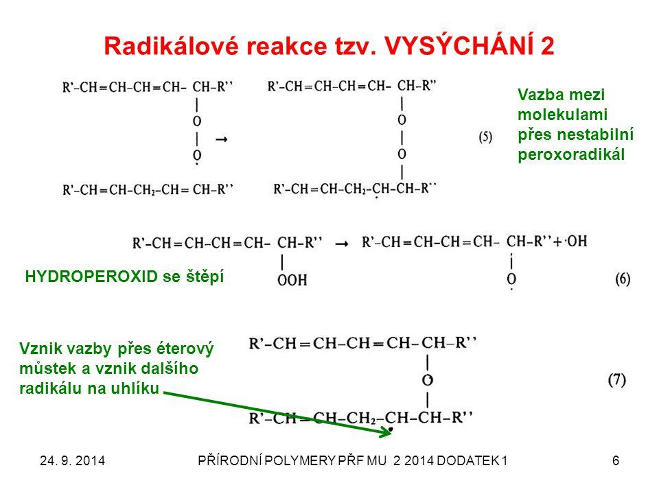 Radikálové reakce tzv. VYSÝCHÁNÍ 2 24. 9. 2014PŘÍRODNÍ POLYMERY PŘF MU 2 2014 DODATEK 16 Vazba mezi molekulami přes nestabilní peroxoradikál HYDROPERO