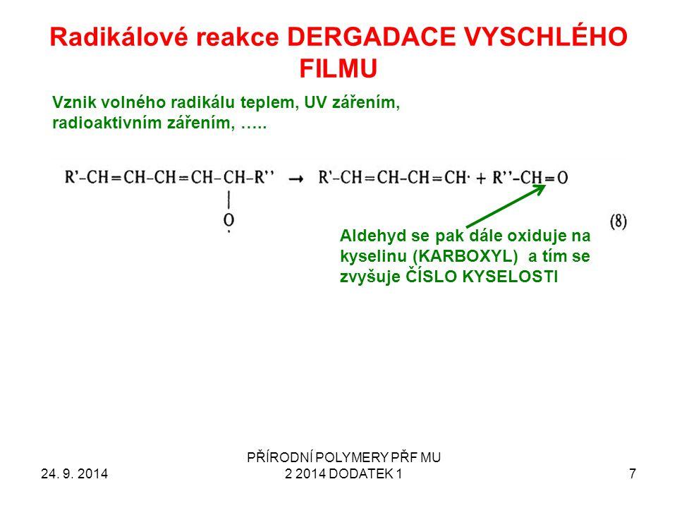Radikálové reakce DERGADACE VYSCHLÉHO FILMU 24. 9. 2014 PŘÍRODNÍ POLYMERY PŘF MU 2 2014 DODATEK 1 7 Vznik volného radikálu teplem, UV zářením, radioak