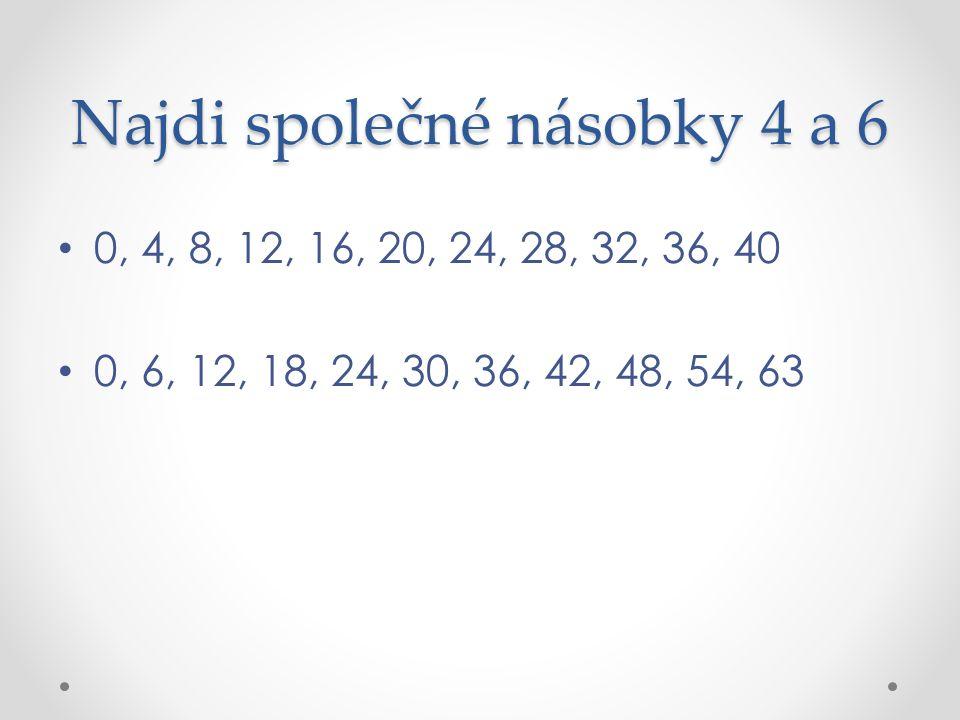 Najdi společné násobky 4 a 6 0, 4, 8, 12, 16, 20, 24, 28, 32, 36, 40 0, 6, 12, 18, 24, 30, 36, 42, 48, 54, 63