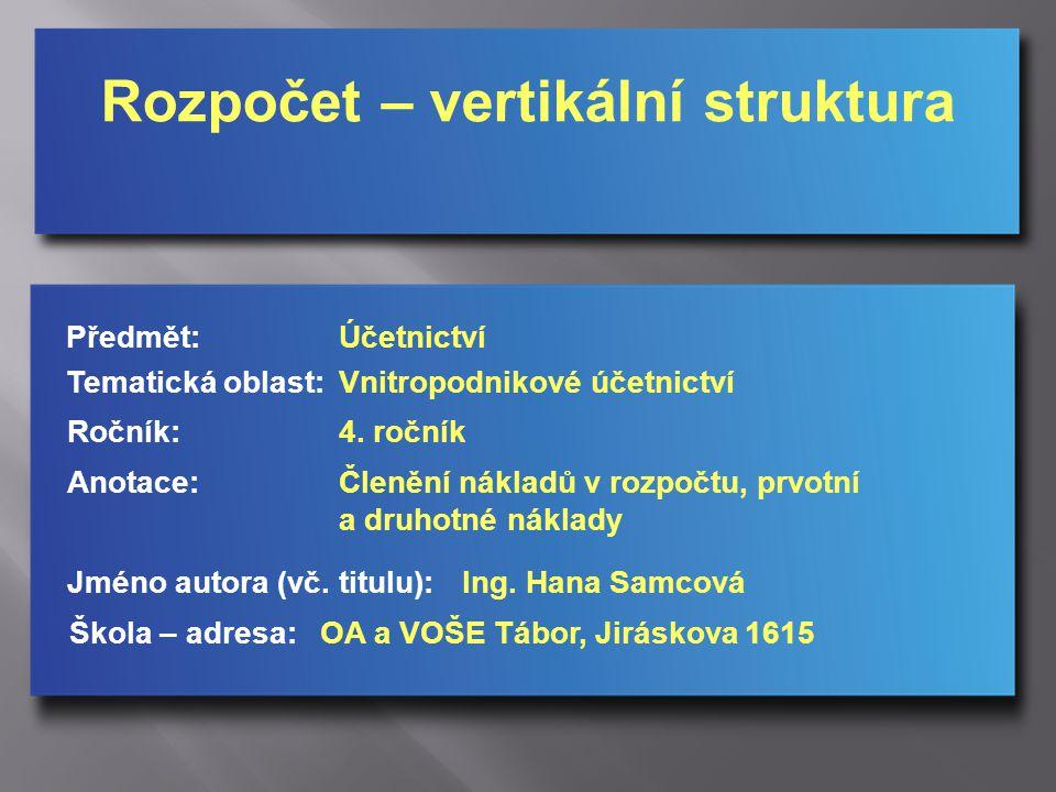 Rozpočet – vertikální struktura Jméno autora (vč.