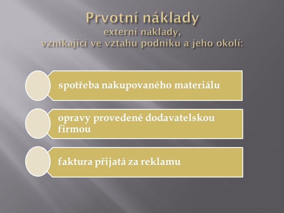 spotřeba nakupovaného materiálu opravy provedené dodavatelskou firmou faktura přijatá za reklamu