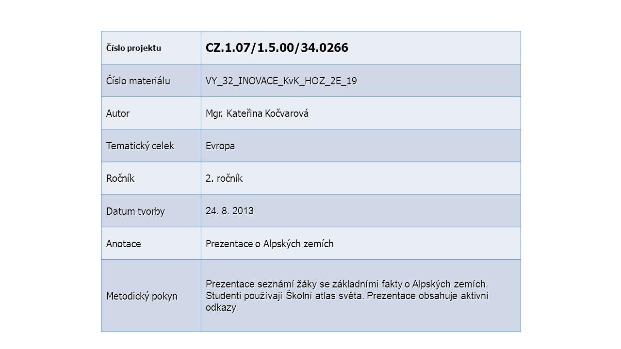 Číslo projektu CZ.1.07/1.5.00/34.0266 Číslo materiálu VY_32_INOVACE_KvK_ HOZ _2E_19 Autor Mgr. Kateřina Kočvarová Tematický celek Evropa Ročník 2. r o