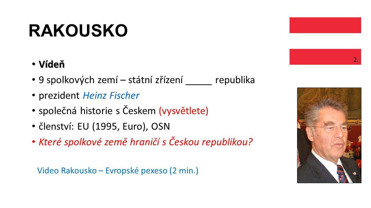 RAKOUSKO Vídeň Vídeň 9 spolkových zemí – státní zřízení _____ republika prezident Heinz Fischer společná historie s Českem (vysvětlete) členství: EU (