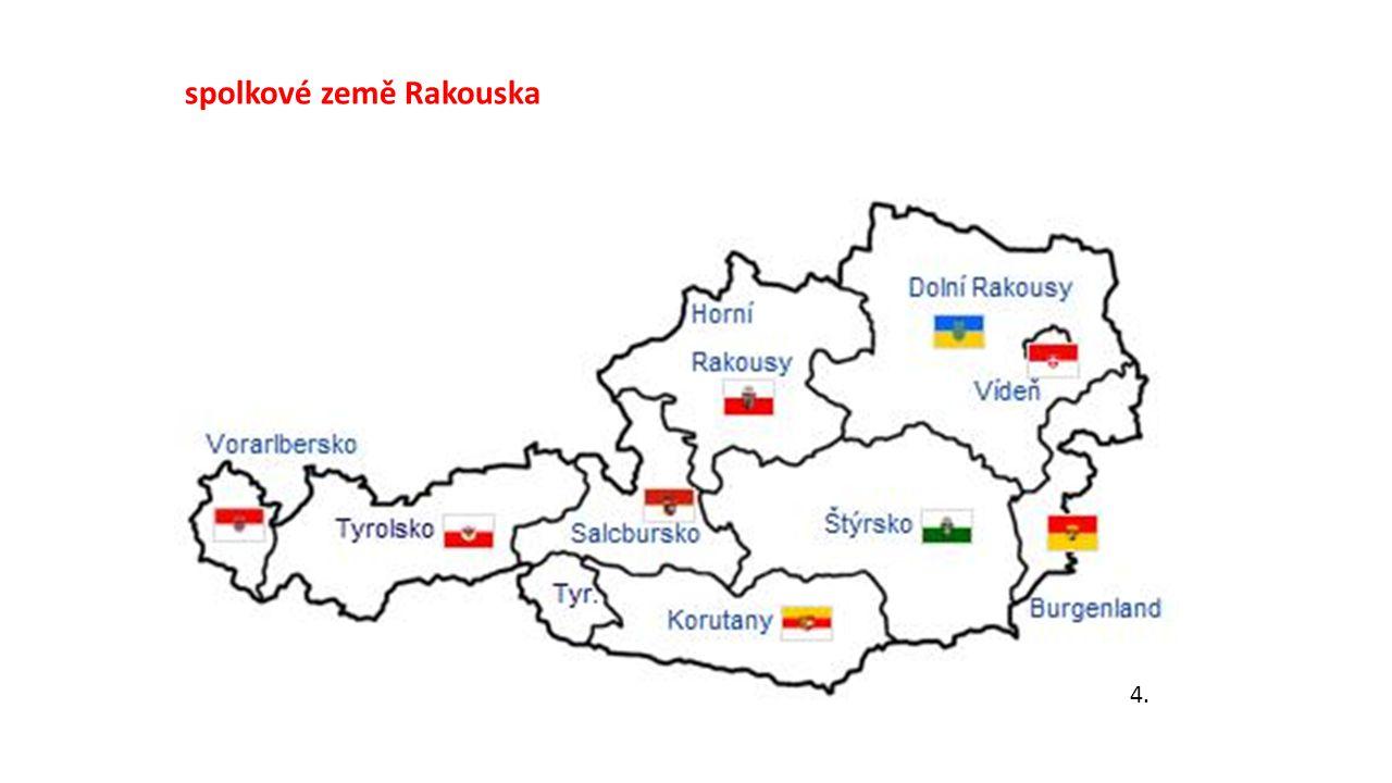 Přírodní podmínky Zvažte výhody a nevýhody polohy Rakouska Výhoda: poloha na hlavních evropských trasách Nevýhoda: vnitrozemská poloha, hornatá země (70% povrchu Alpy) Zjistěte, jak se jmenuje nejvyšší vrchol Rakouska a najděte v atlase jméno alespoň 1 horského ledovce Grossglockner, Pasterský ledovec Nerostné zdroje: Kamenná sůl (solná komora Salzburg), ropa, zemní plyn (Vídeňská pánev)