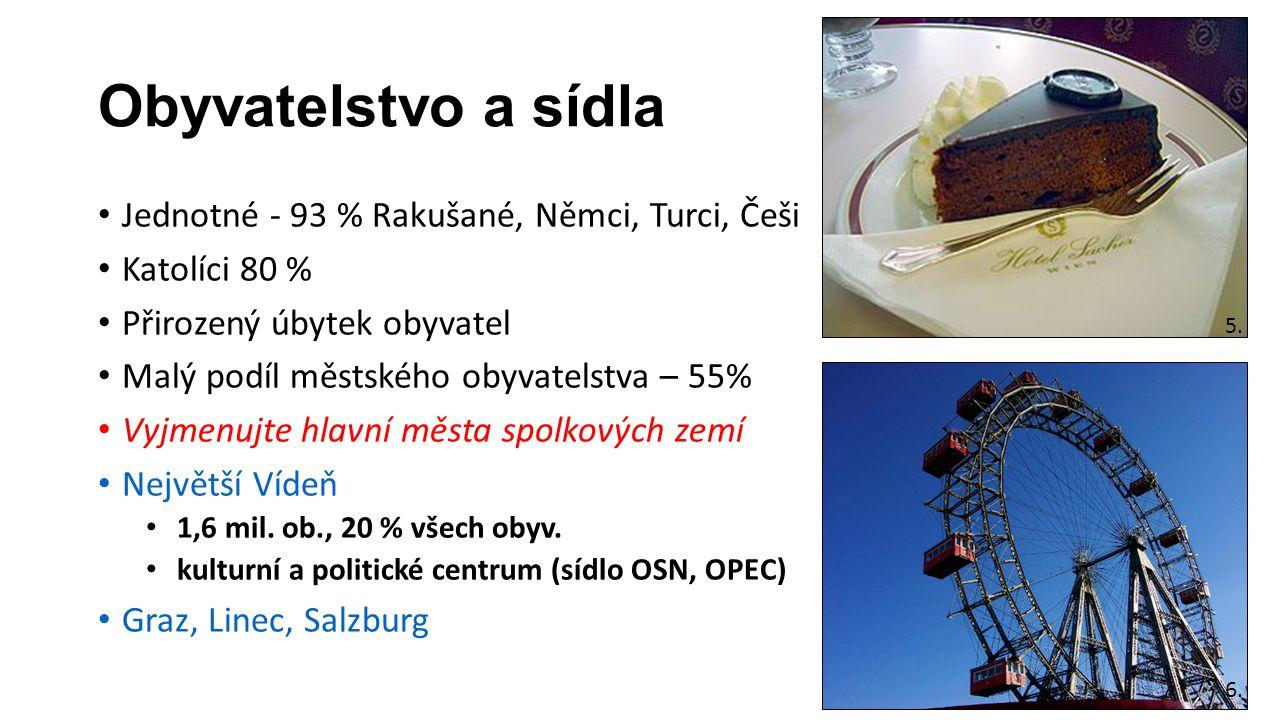 Hospodářství nejaderná země (kaskáda hydroelektráren na Dunaji) Převažují malé a střední podniky Důležitý je spotřební průmysl a dřevozpracující průmysl Společnosti Völkl, Atomic, Fischer, Dachstein potravinářství (Rauch, Billa, Spar) Petrochemie – ÖMV Zemědělství - velmi málo zemědělské půdy, proto alpský chov skotu Doprava - Alpské tunely, Brennerský průsmyk Cestovní ruch – vyjmenujte nejdůležitější destinace