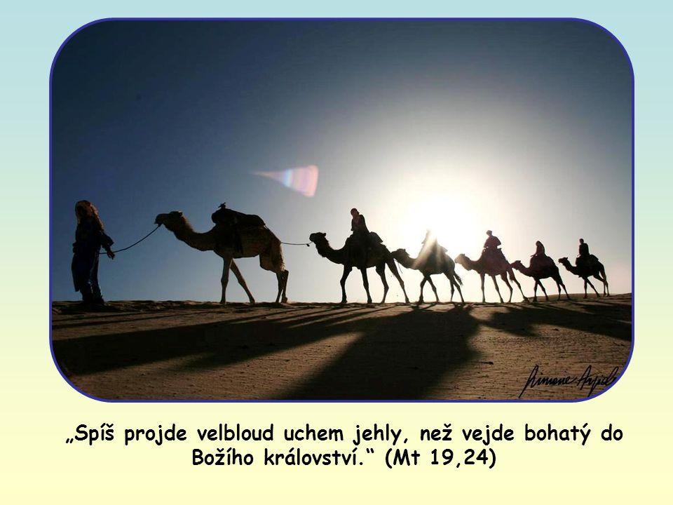 """""""Spíš projde velbloud uchem jehly, než vejde bohatý do Božího království. (Mt 19,24)"""