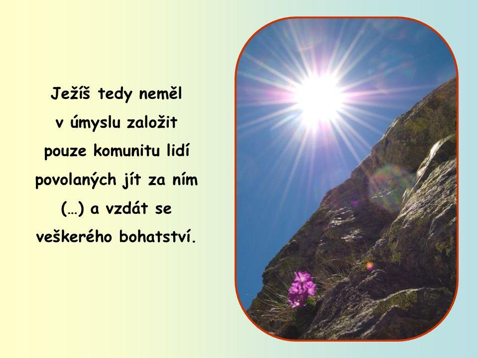 Ježíš tedy neměl v úmyslu založit pouze komunitu lidí povolaných jít za ním (…) a vzdát se veškerého bohatství.