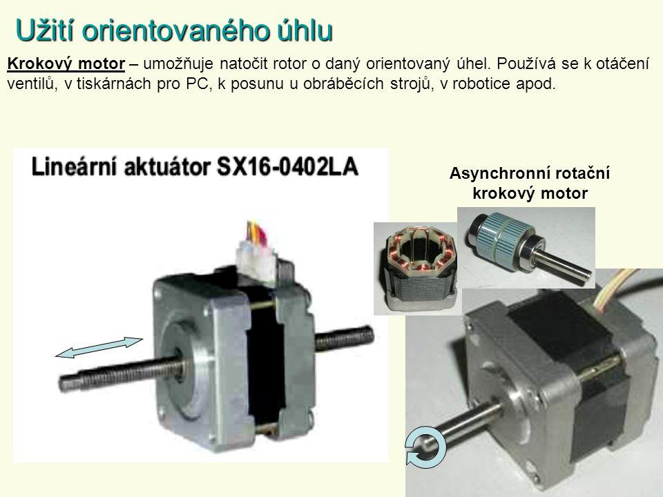 Užití orientovaného úhlu Krokový motor – umožňuje natočit rotor o daný orientovaný úhel.